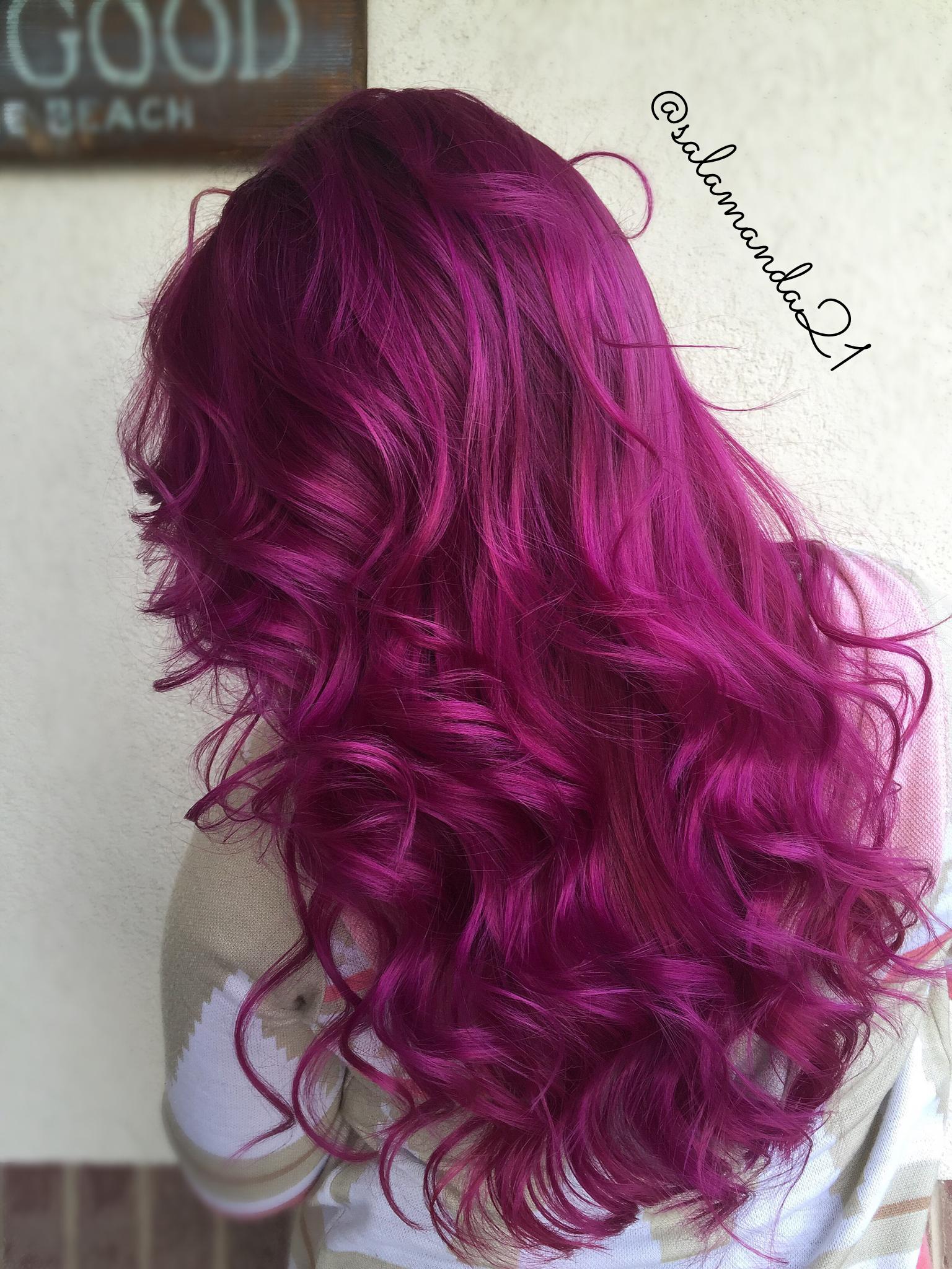 Red Pink Purple Magenta Arctic Fox Color Done By Manda Heath Salamanda21 Magenta Hair Colors Fox Hair Dye Magenta Hair