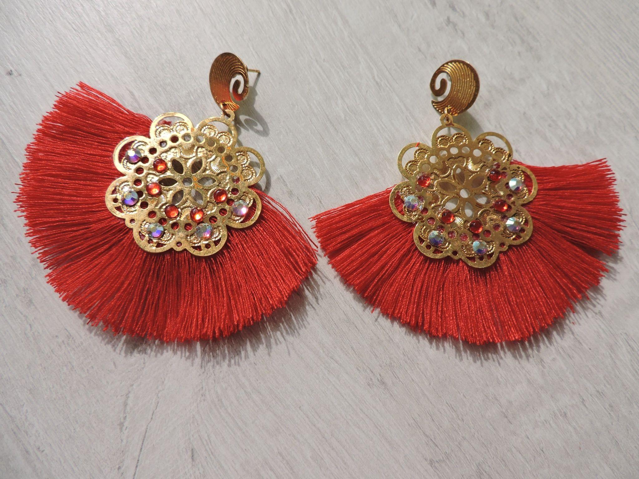 Maxi Aretes Abanico Fancy Jewellery Wire Crochet Jewelry Earrings Handmade