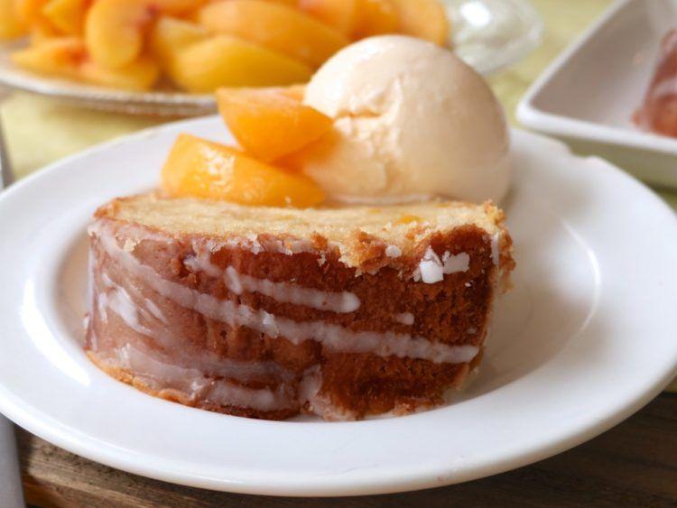 Southern Peach Pound Cake #peachcobblerpoundcake