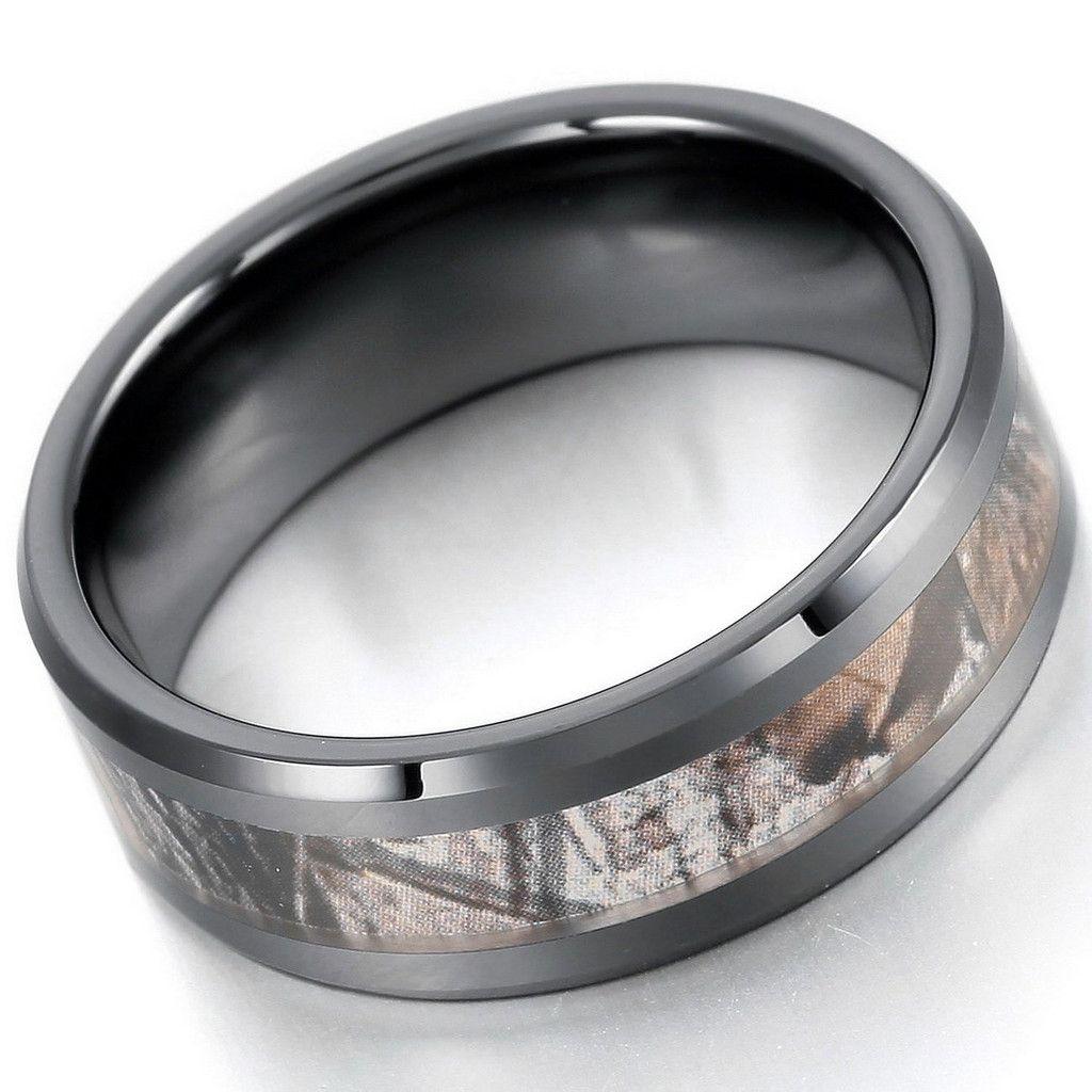 Black Camo Ceramic Mens Or Womens Ring Wedding Bands Anniversary Gift Urban Outdoorsman Hunter Band Unisex