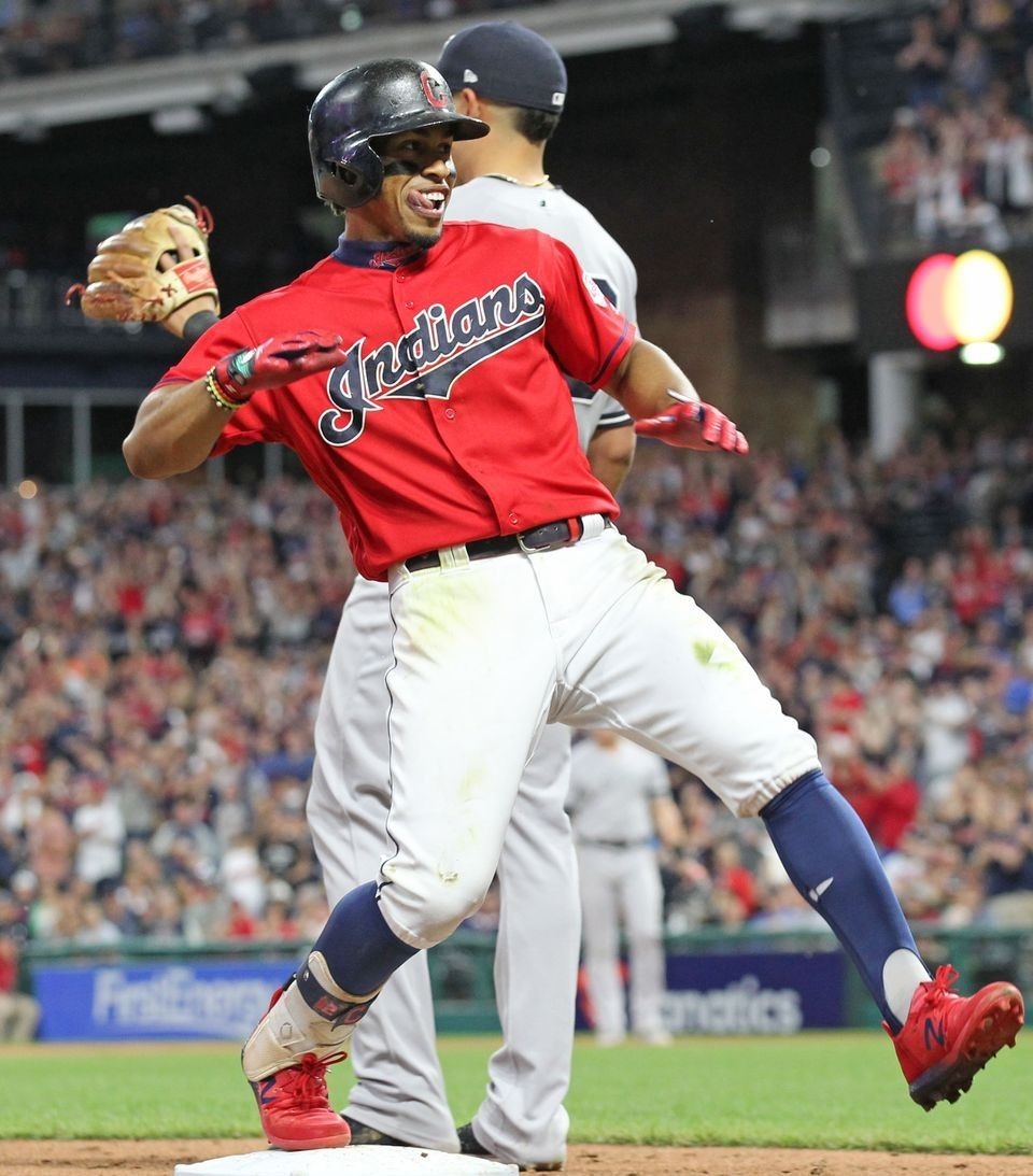 Cleveland Indians Francisco Lindor Celebrates His Triple In The 8th Against The New York Yankees Cleveland Indians Cleveland Indians Baseball Clevland Indians