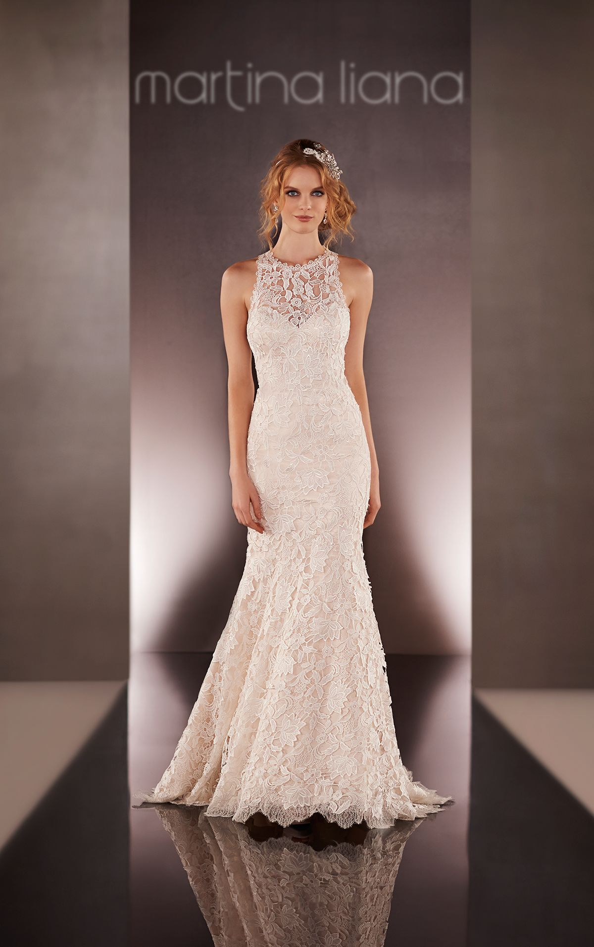 Vintage High-Neck Lace Wedding Dress | Illusions, Neckline and ...