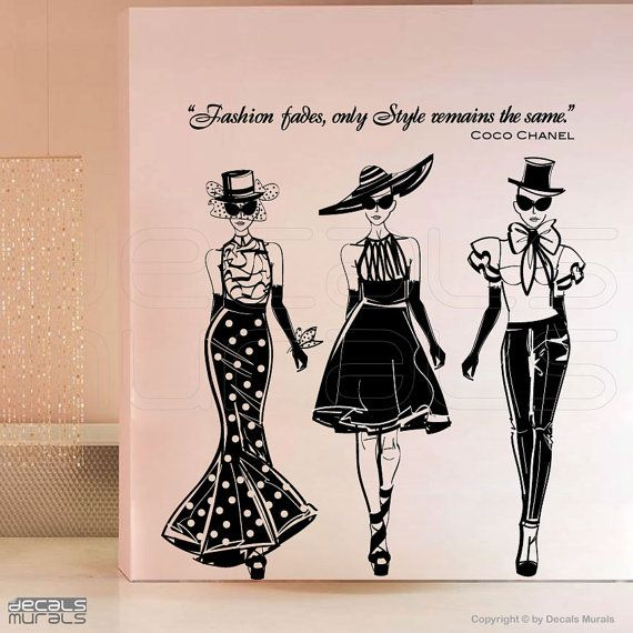 wall decals fashion models with coco chanel quote surface graphics