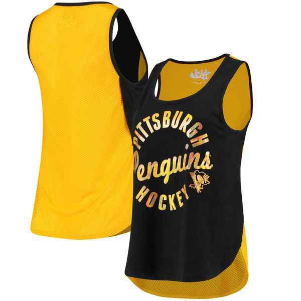 Touch by Alyssa Milano Pittsburgh Penguins Women's Black/Gold Fair Catch  Tank Top Top