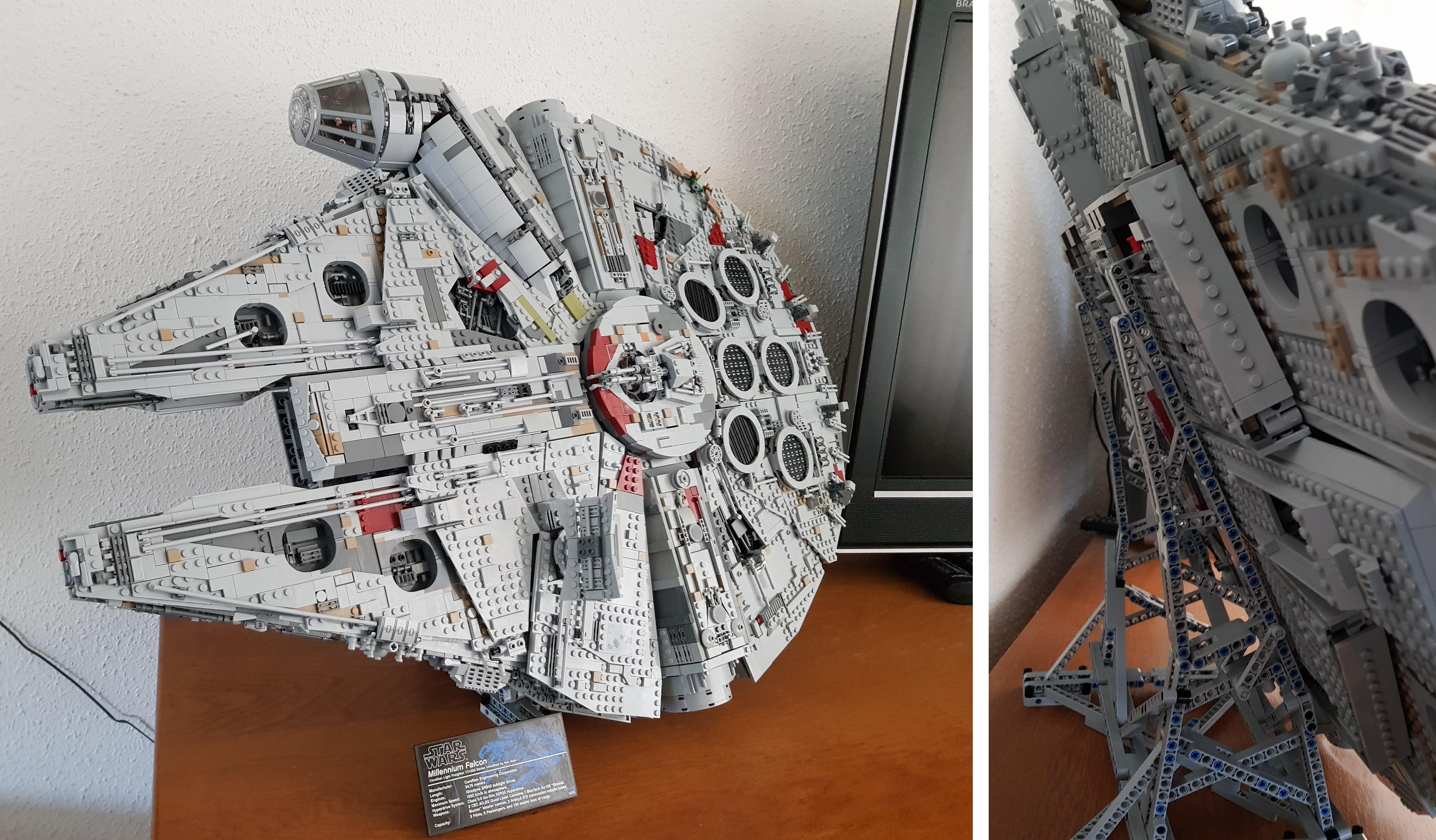 Ucs Millennium Falcon On Angled Stand Lego Lego Star Wars Millennium Falcon