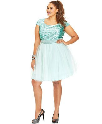 403581aba4f Trixxi Plus Size Cap-Sleeve Sequin Tulle Dress - Junior Plus Dresses - Plus  Sizes - Macy s