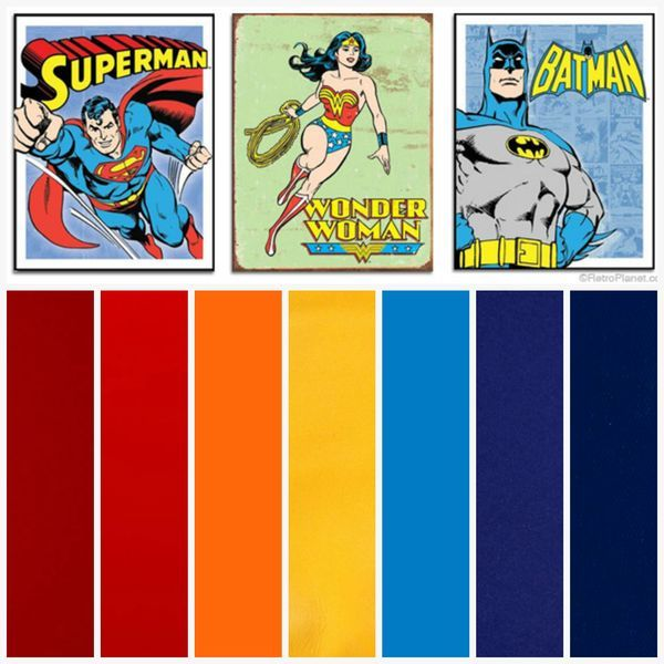 Kids room : Superman, Wonder Woman, and Batman comic book color ...