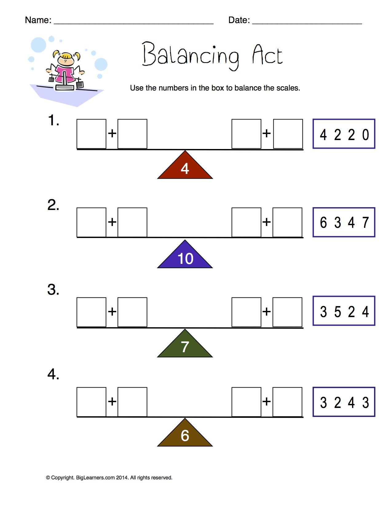 Worksheet Balancing Act Balance The Scales By Writing The Correct Numbers In The Boxes First Grade Math Worksheets Math