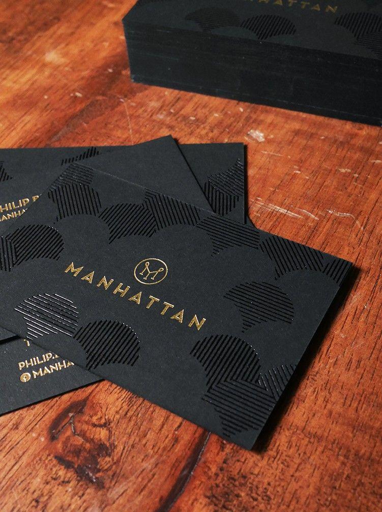 Manhattan Singapore Business Cards Black And Matt Gold Hotfoil Design There Business Card Design Fashion Name Card Design Gold Business Card