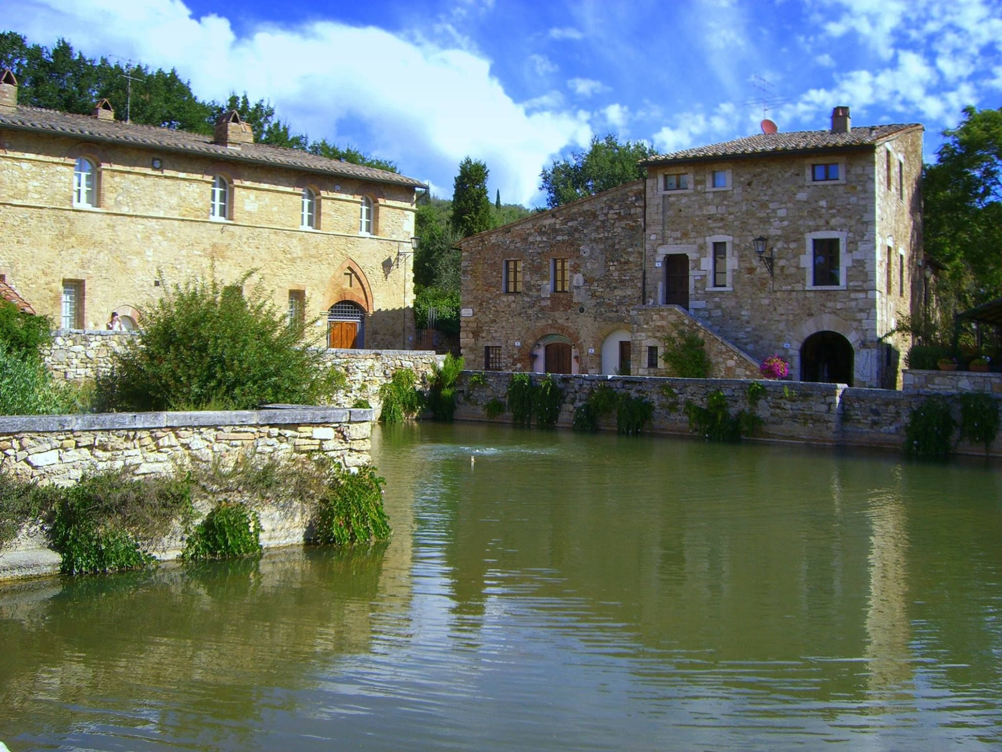 An ancient town with a thermal pool for main square in southern Tuscany: Bagno Vignoni.  http://www.artshoptuscany.com/