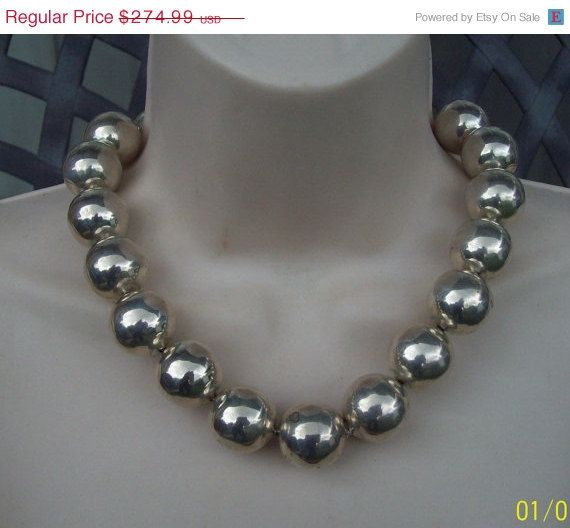 20% Off Vintage Sterling Bead Necklace Huge by LynnHislopJewels