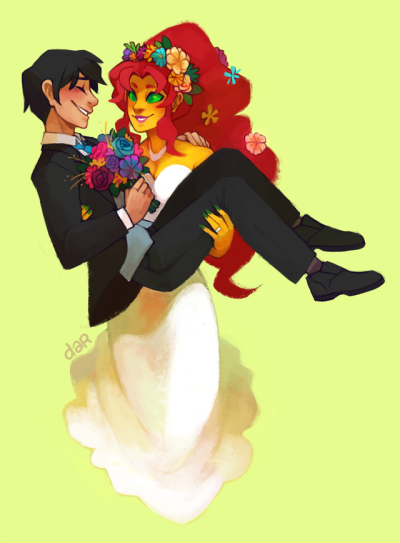 "Dickkory Week, DAY 1  ""Dick, hold my bouquet.""  ""Wh-""  Kory carries Dick ok and I will NOT *punches wall* accept any other scenario."