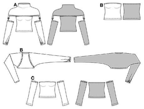 Free Sewing Patterns Shrug | ... shrug (short bolero), View C: bare ...
