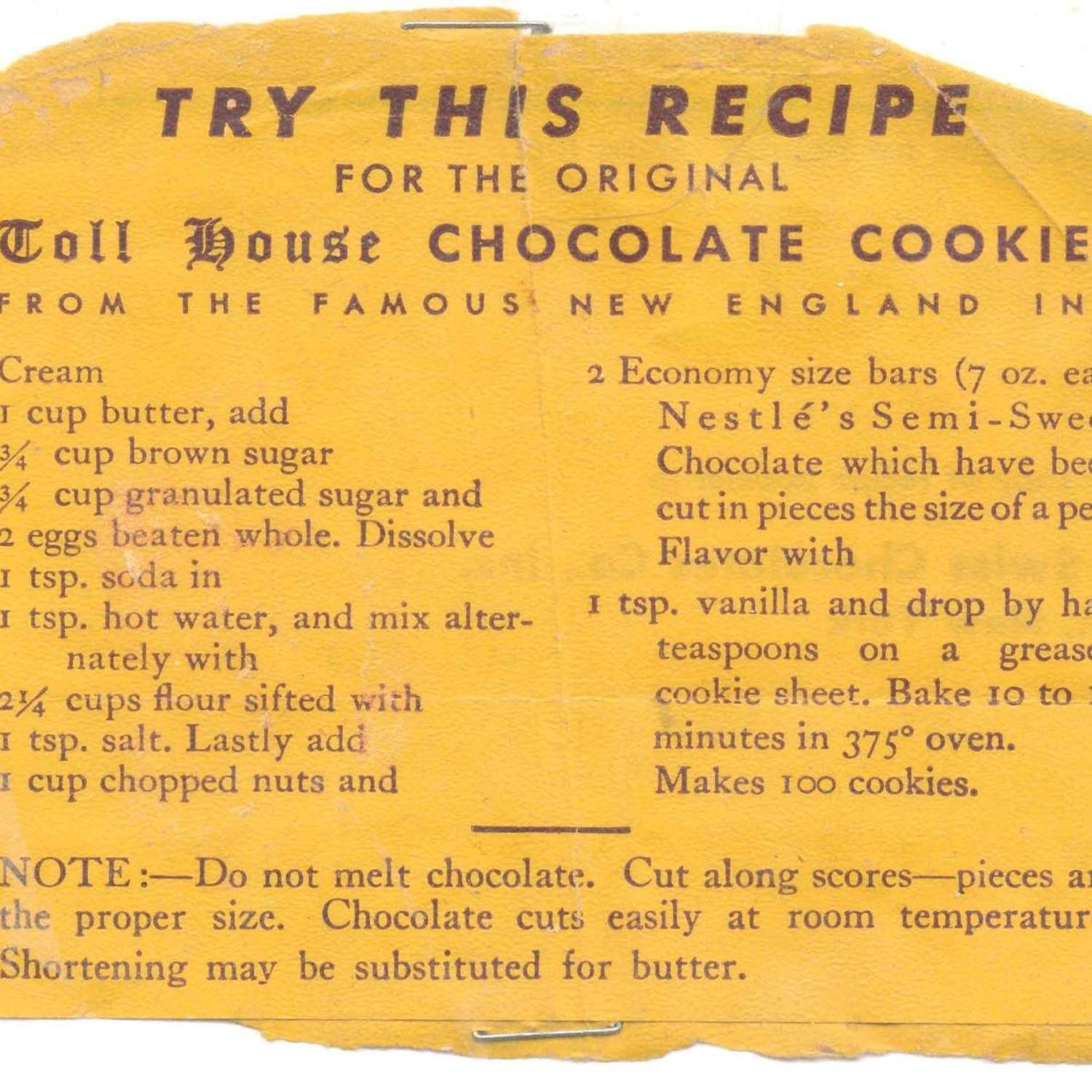 ABSOLUTELY ORIGINAL TOLL HOUSE CHOCOLATE COOKIES