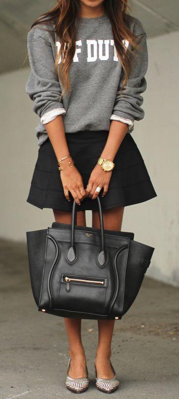 Fabulous bag - (the sweatshirt and skirt is cute too).