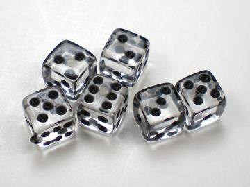 Koplow Games Translucent Clear w Black 5mm d6 Dice  d77dc4be4a501