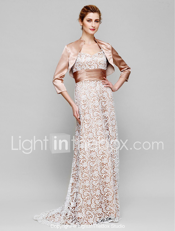 58de1b160da8 Ίσια Γραμμή Λουριά Ουρά Δαντέλα Σαρμέζ Φόρεμα Μητέρας της Νύφης με Δαντέλα  Πιασίματα με LAN TING