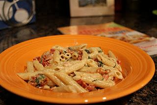 Weight Watchers Bacon and Sun-Dried Tomato Alfredo Pasta - Simple recipe....