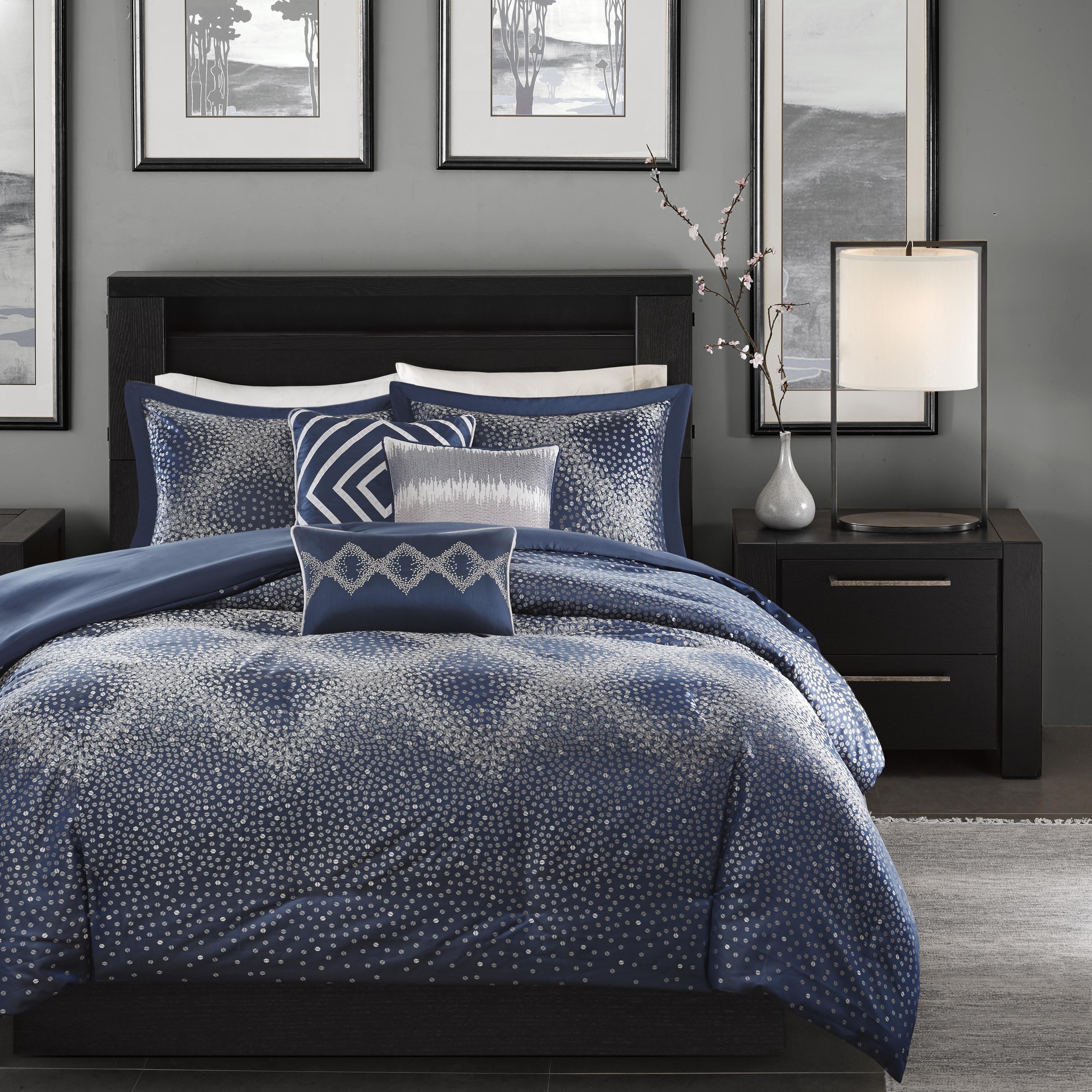 Madison Park Crawford Navy Jacquard 7piece Comforter Set