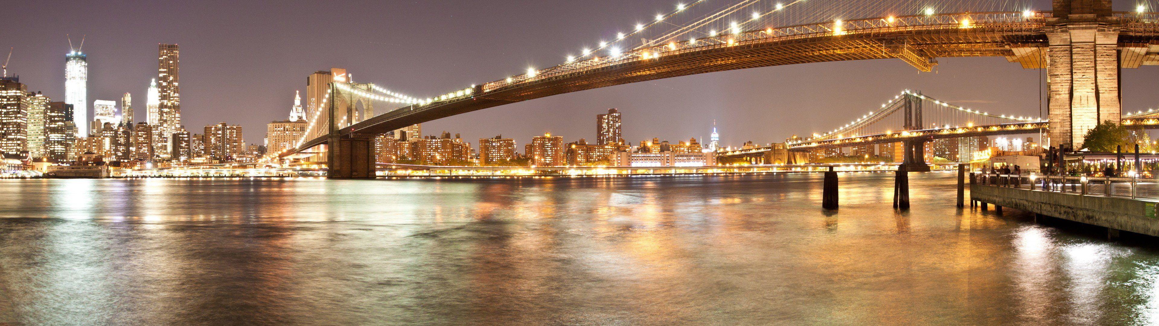 3840x1080 Px Brooklyn Bridge Multiple Display New York City People Actresses Hd Art Brooklyn Bridge New York Ci Brooklyn Bridge New York City People Wallpaper