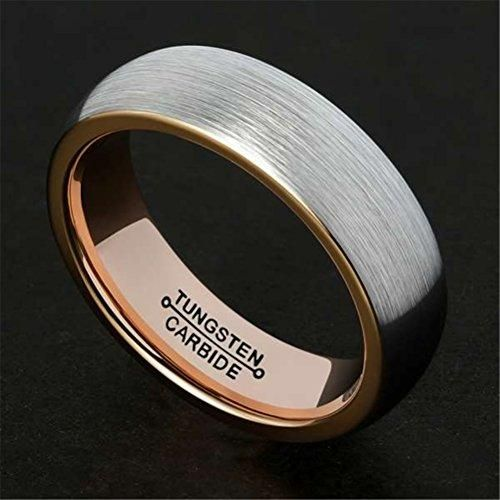 6mm Tungsten Carbide Ring Rose Gold Wedding Promise Band