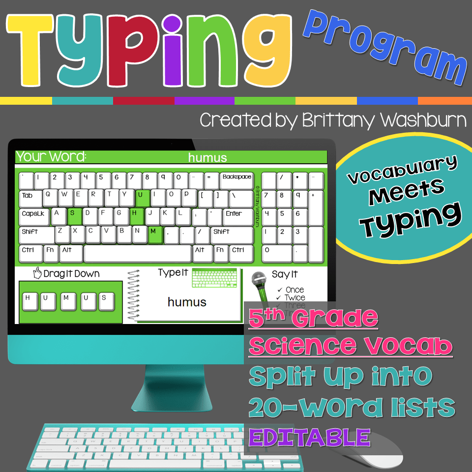 Typing Program with 5th Grade Science Vocabulary Science