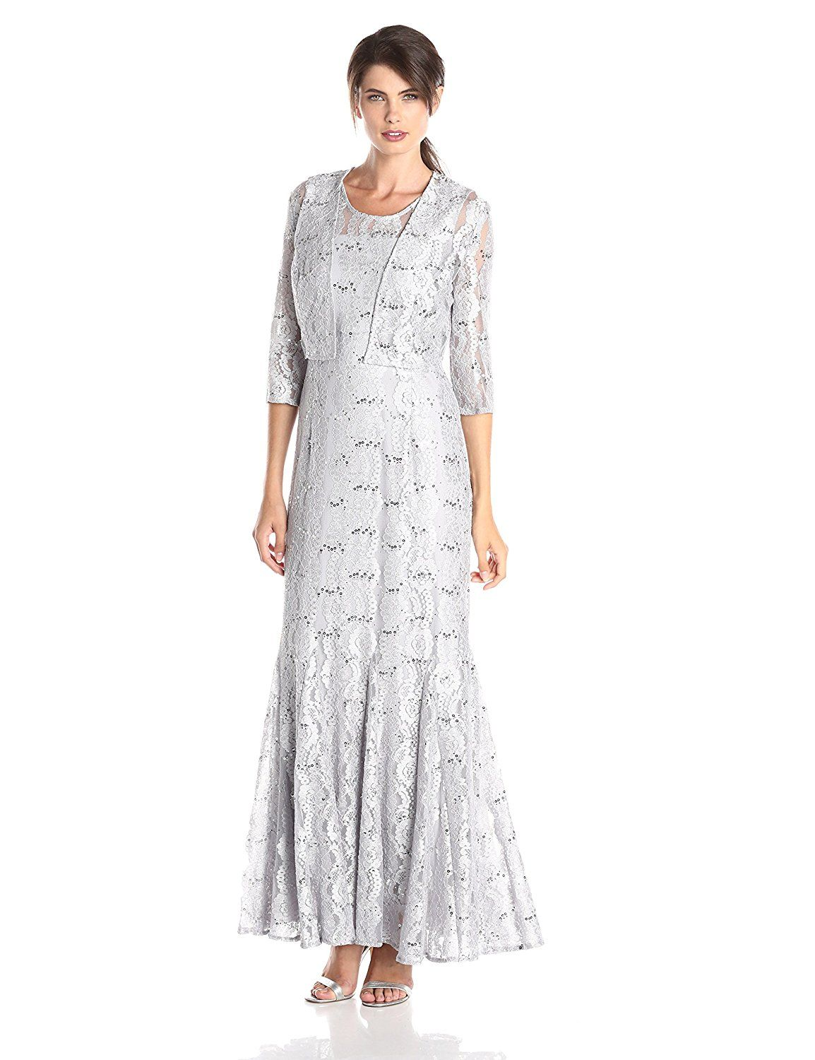 Alex evenings womenus long gown with lacepaneled skirt and bolero
