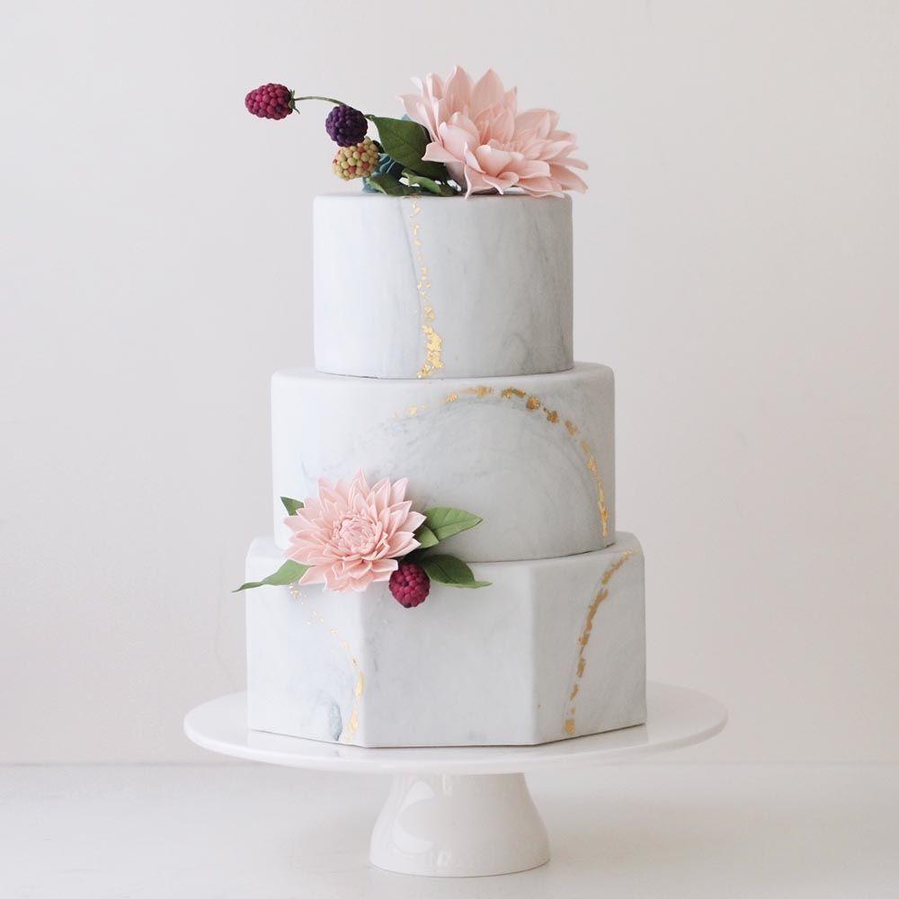 www.sugarlipscakes.com    Marble Wedding Cake    Metallic Wedding ...