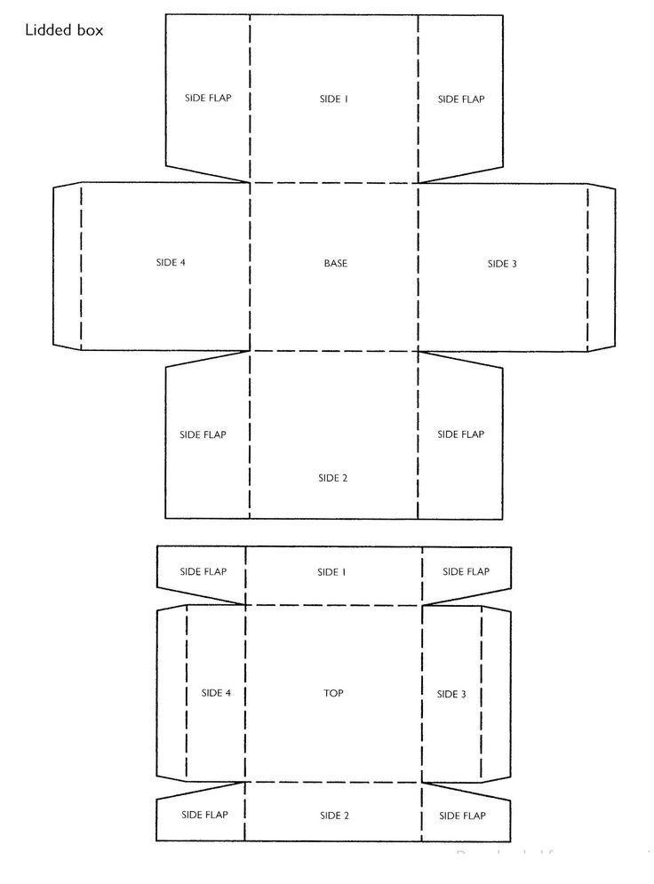 Square Box Template With Lid Boite En Carton Modeles De Boite