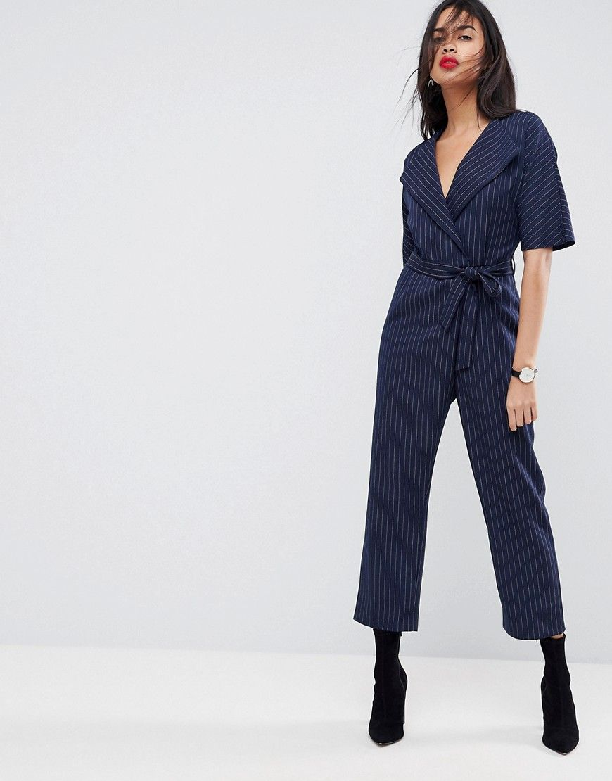 c1f80c2dd3b ASOS Wrap Jumpsuit with Self Belt in Pinstripe - Navy