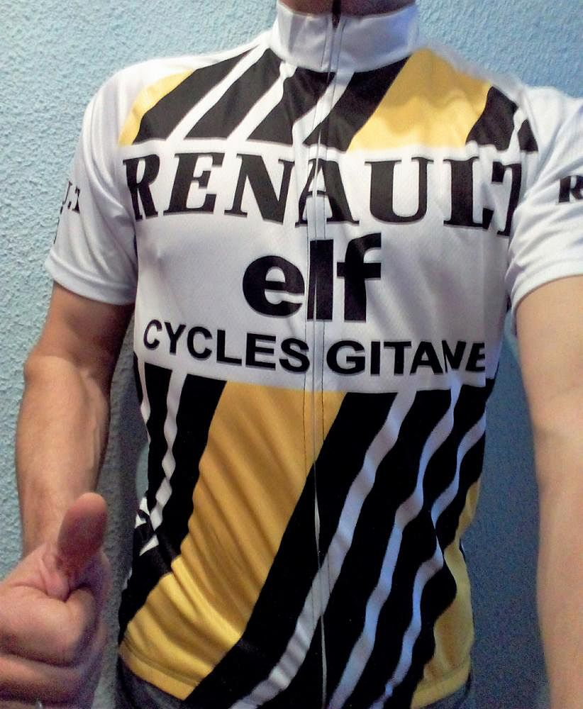 d73c7afb9 Retro Renault Elf Yellow White Cycling Jerseys