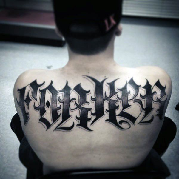 Mens Black Ink Dark Last Name Upper Back Tattoos