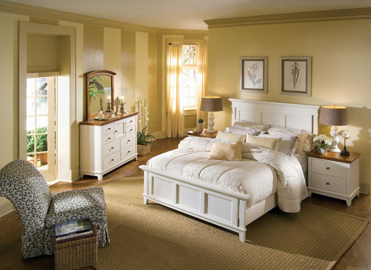 Sterling Pointe Panel Bed Collection WhiteAmerican Drew