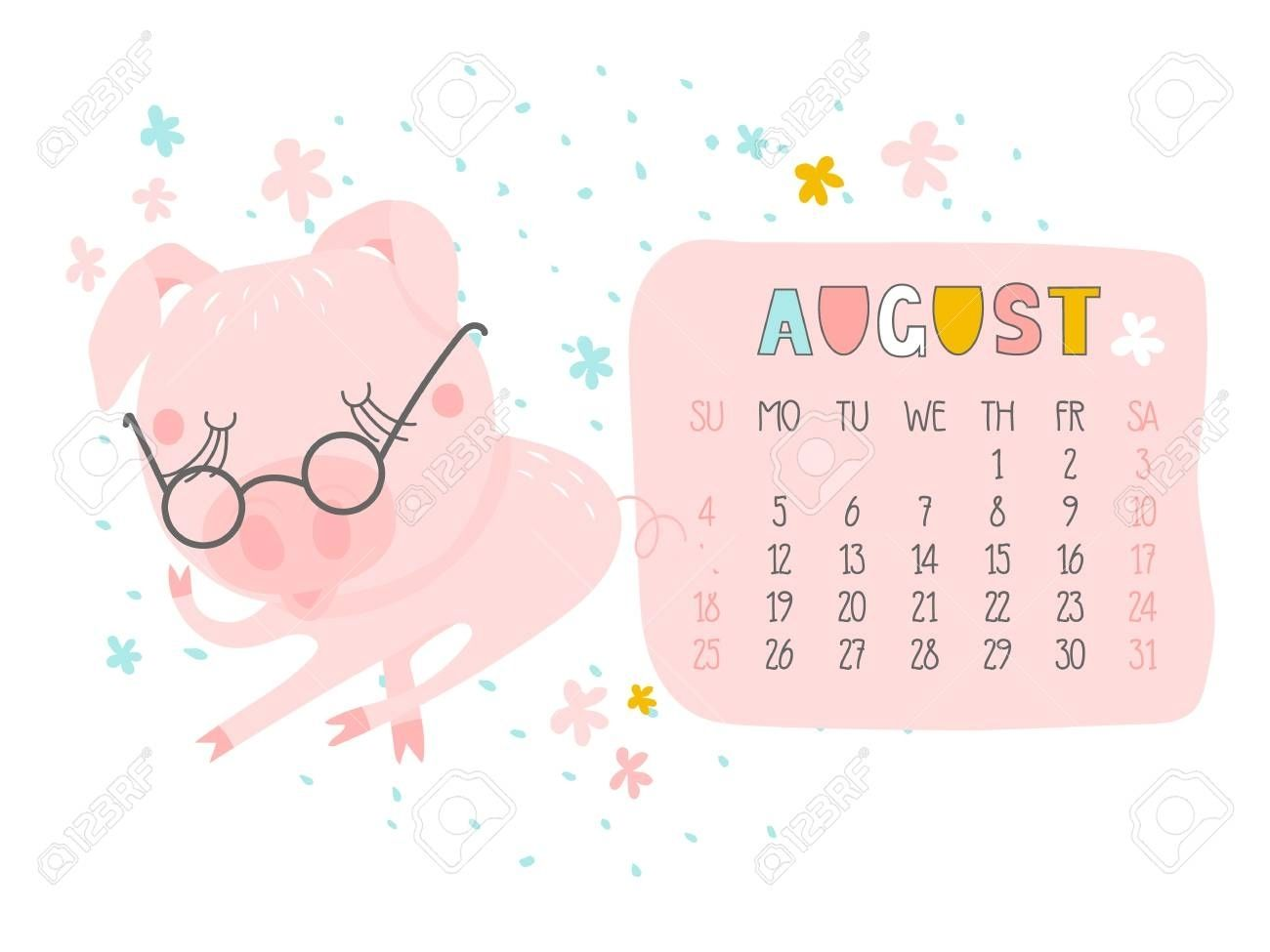 Creative Calendar For August 2019 With Cute Pig. Concept