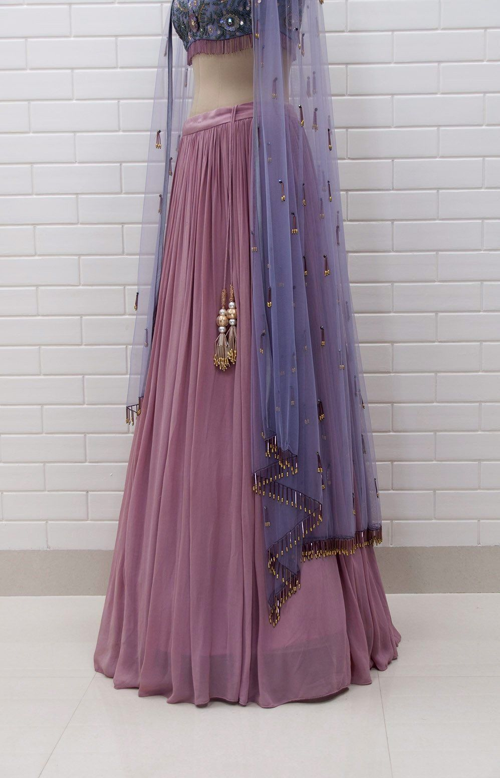f58548c214 BELLAROSA : Box collar Shoulder Jacket & Blouse in Floral Sequins and Beads  embroidery with pleated Lehenga