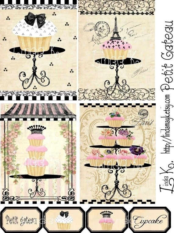 Collage SheetPetit Gateau by lindakdesign on Etsy, $3.99