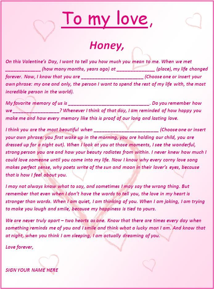 Charming Romantic And Love Letters | Free Word Templates Within Love Letter Templates Free