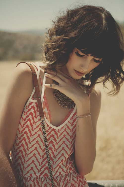 Curly Hair Styles With A Fringe : Curly wavy bob with bangs corto y ondas pinterest bobs