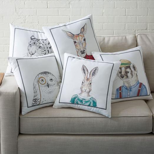 dapper animal pillow covers west elm children 39 s rooms animal pillows modern pillows. Black Bedroom Furniture Sets. Home Design Ideas