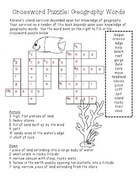 photograph about 4th Grade Crossword Puzzles Printable identified as FREEBIE Island of the Blue Dolphins Crossword Puzzle 5th