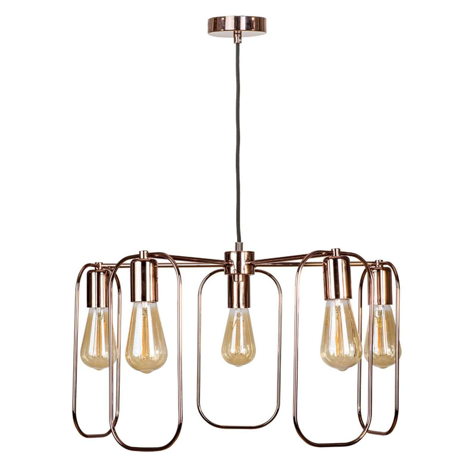 Photo of Neo suspension with 5 lamps, vertical, copper