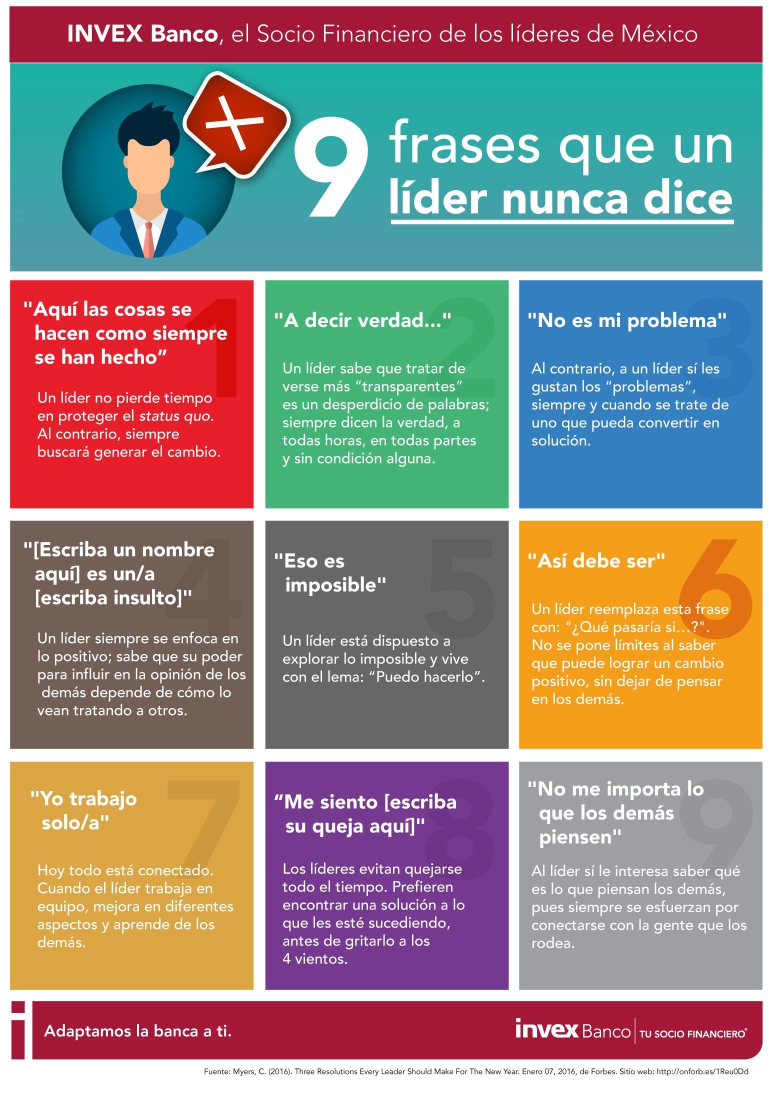 9 Frases Que Un Líder Nunca Dice Infografia Infographic Leadership Rrhh Tics Y Formación Estilos De Liderazgo Frases De Liderazgo Habilidades De Liderazgo