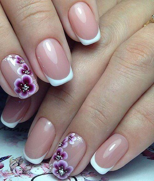 purple flower nail art u as decoradas pinterest n gel nagellack kunst und manik re. Black Bedroom Furniture Sets. Home Design Ideas