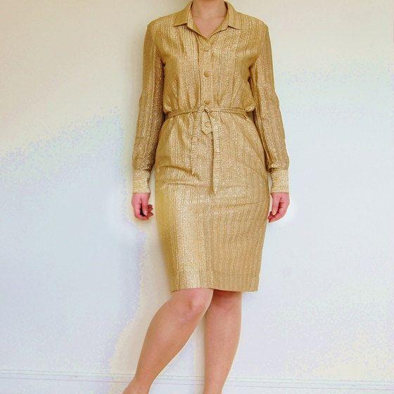 Vintage 60s/1960s dress Gold metallic glitter by PosanVintage, kr225.00