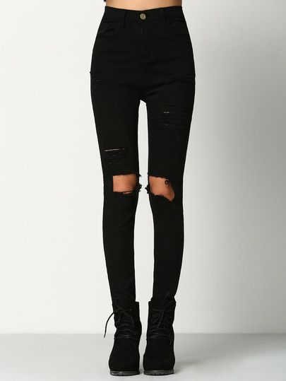 628b417e9f Shop Black Skinny Ripped Denim Pant online. SheIn offers Black Skinny  Ripped Denim Pant & more to fit your fashionable needs.