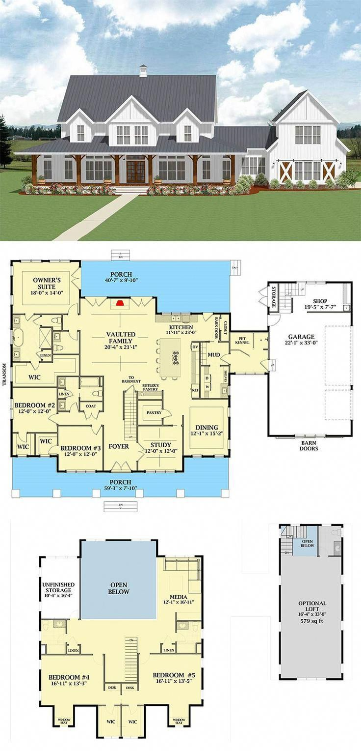Pin By Sharon On House Plans In 2020 House Blueprints House Plans Farmhouse Farmhouse Plans