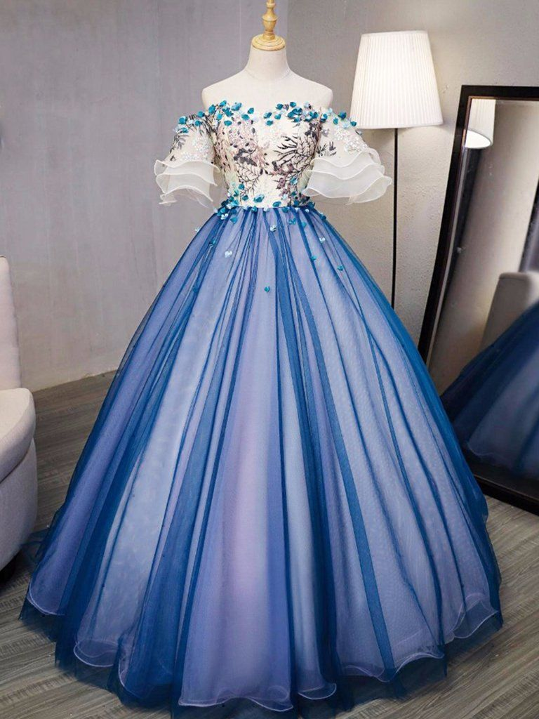 Ball gown prom dresses royal blue and ivory handmade flower prom