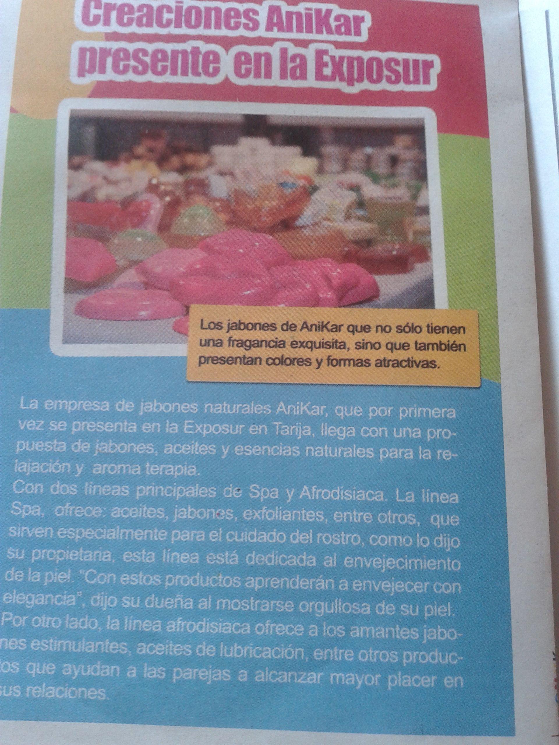 Nota con referencia a los productos de Creaciones Anykar en la Revista de El Períodico de la ciudad de Tarija!!