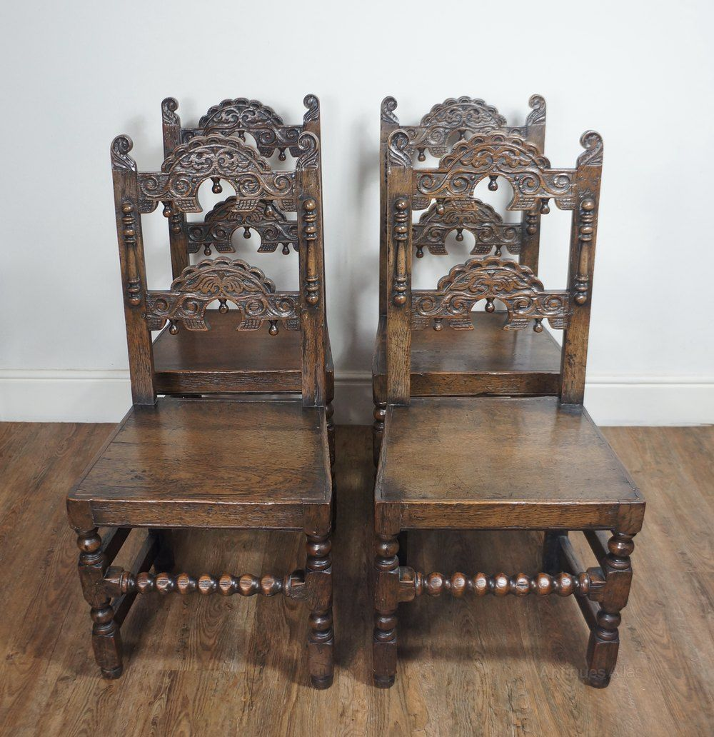 17thc carolean style yorkshire oak dining chairs