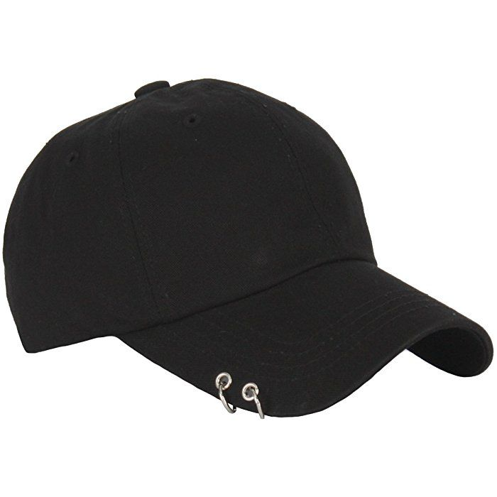 a4498108febd30 RaOn B160 Punk Silver Ring Piercing Rock Cotton Basic Ball Cap Baseball Hat  Truckers (Black)